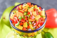 Mango Habanero Salsa combines mangoes with habanero peppers for a fresh, healthy, no-bake, sweet and spicy salsa that fits into Gluten-Free and Paleo diets. Habanero Salsa Recipe, Mango Habanero Salsa, Spicy Salsa, Fruit Salsa, Salsa Canning Recipes, Mango Salsa Recipes, Homemade Pickles, Homemade Salsa, Yummy Appetizers