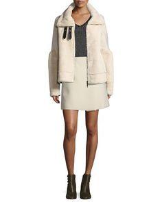 -75RZ Armani Jeans  Crepe Wrap Skirt, Cream Faux Fur Bomber Jacket, Cream