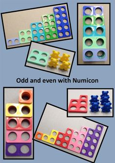 Numicon is a great tool for introducing odd and even numbers. Learners can visually see the pairs that make an even number while having the ability to touch the odd number. A great teaching manipulative. Year 1 Maths, Early Years Maths, Early Math, Kindergarten Math, Teaching Math, Fractions, Odd And Even Games, Numicon Activities, Number Activities