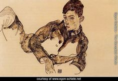 Reclining Boy Leaning On His Elbow - Egon Schiele Reproduction