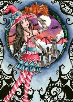 Witch ACEO Print Fantasy Art Art Nouveau Cat Fairy by aurella27