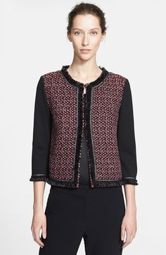 Free shipping and returns on St. John Collection Tweed Front Milano Knit Jacket at Nordstrom.com. Feathery fringe frames a collarless, three-quarter-sleeve jacket fronted by multicolored tweed panels knit in a mélange of autumn-favorite hues.