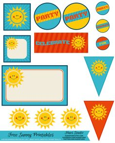FREE PRINTABLE! Happy Sun Party Kit - download, print, cut and decorate your kid's next party.