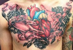 """""""Every Day's A Gift"""" Sacred Heart tattoo inked by Peta """"Junior"""" Jamieson. Peta works at Lust For Life tattoo, gallery and espresso bar in Brisbane, Australia."""