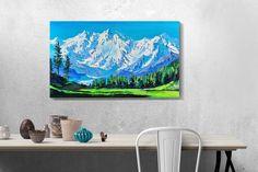 Mountain Landscape, Interior Paint, Landscape Paintings, Tapestry, Mountains, Canvas, Nature, Modern, Artwork