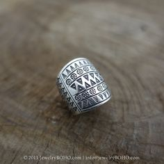 BOHO 925 Silver Ring-Gypsy Hippie Ring,Bohemian style,Statement Ring R135 JewelryBOHO,Handmade sterling silver BOHO Tribal printed ring