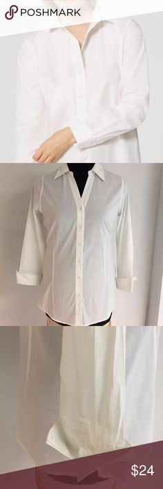 Classic White Shirt NWT Meet the softened ever needed in your closet White Shirt. A light and airy buttoned down in crisp cotton poplin tunic styling is a season perfect essential. Point collar long sleeves w/button cuffs side vents shirttail hem. True S. Hannah Tops Blouses