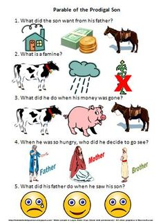 Full lesson on the prodigal son. Pictured is a great worksheet to review the story with. Will work for a wide age range. Other visuals, handouts and worksheets are included - all with free printables.