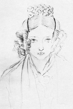 Self portrait of Queen Victoria at age 16. It's really very good considering her age and the time when she made this.