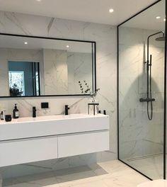 Modern Scandinavian Bathroom Interior in white - interior design ideas and . - Modern Scandinavian Bathroom Interior in White – Interior Design Ideas – moercar – Modern Sca - Modern Bathroom Design, Bathroom Interior Design, Bathroom Designs, Modern Bathrooms, Small Bathrooms, Bath Design, Dream Bathrooms, Modern Master Bathroom, Key Design