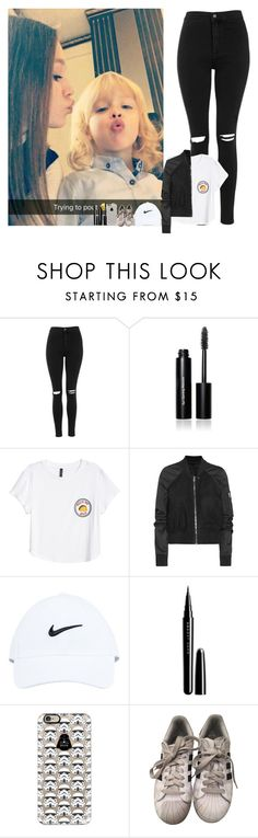 """""""Fun day with Daisey and Doris"""" by walking-in-the-wind ❤ liked on Polyvore featuring Topshop, Bobbi Brown Cosmetics, H&M, Rick Owens, NIKE, Marc Jacobs, Casetify and adidas"""