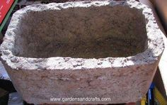 Great site that describes how to make different types of hypertufa planters and projects. Concrete Sculpture, Concrete Forms, Concrete Wood, Concrete Planters, Garden Planters, Concrete Crafts, Concrete Projects, Garden Crafts, Garden Projects
