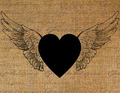 Heart With Wings Flying Hearts Digital Image Download Transfer To Pillows Tote Tea Towels Burlap No. 2582