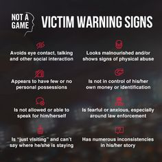 Please share these warning signs of trafficking with your friends and families! Learn more at: https://www.covenanthouse.org/notagame/?interest_id%5B0%5D=2561&origin=DHQEI1507GJUNN