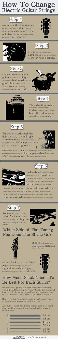 Infographic • How To Change Electric Guitar Strings  - Shared by The Lewis Hamilton Band -   https://www.facebook.com/lewishamiltonband/app_2405167945  -  www.lewishamiltonmusic.com   http://www.reverbnation.com/lewishamiltonmusic  -