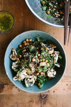 roasted cauliflower, chickpea + quinoa salad with jalapeno lime dressing - use 1 cup cooked or canned chickpeas to make a lovely vegan one-dish meal for 2.