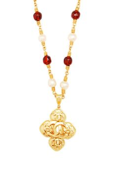 Vintage Chanel Pearl Gripoix Necklace From What Goes Around Comes Around by Vintage Chanel - Moda Operandi