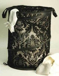beautiful way to dress up laundry! and it would go GREAT w/ the Tiffany Blue room!