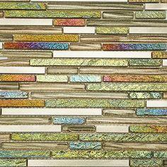 "Shop 11 3/4""x11"" Arcadia Bonsai Tint Random Brick Polished + Brushed Metal, Slate, + Glass Tile in Aluminum, Painted Iridescent Foil, Metallic Silver + Bronze at TileBar.com."