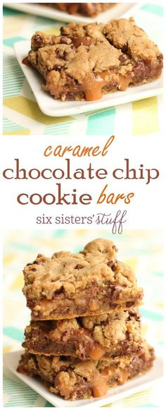 Caramel Chocolate Chip Cookie Bars recipe One of the best desserts to make for your next party sixsistersstuff Desserts Keto, Delicious Desserts, Dessert Recipes, Yummy Food, Desserts Caramel, Party Desserts, Chocolate Desserts, Bar Recipes, Frozen Desserts
