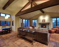 Tuscan Modern House Interior for Inside and Outside: Cozy Family Room Decor Los Gatos Tuscan Contemporary Home