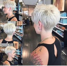 """[   """"Can I have a similar cut in the back to truly exaggerate my front A-line length? -- WEBSTA @ nothingbutpixies - A full 360 of pixie cut."""",   """"30 Hottest Pixie Haircuts 2017 - Classic to Edgy Pixie Hairstyles for women"""",   """"Blond pixie haircut with shaved side"""",   """"Pixie cut is an appealing, daring and modern short haircut for women. Many women find it little bit scary to adopt such a short haircut but there are many."""",   """"11 Amazing Short Pixie Haircuts that Will Look Great on…"""