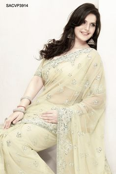 $220 Captivating Net Embroidered Saree From Cbazaar