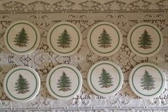 Spode Christmas Tree Set of 4 Coasters made with a Thirsty