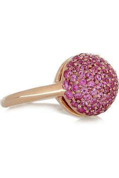 Button 18-karat Rose Gold Sapphire Ring by Carolina Bucci