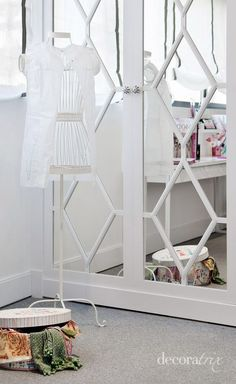 Girls Room - decorate closet doors with mirrors and painted wood