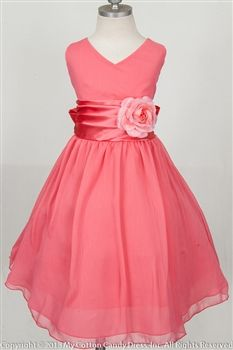 Le Pink Mimosa Coral Girls Dress $79.00 flower girl dresses for ...