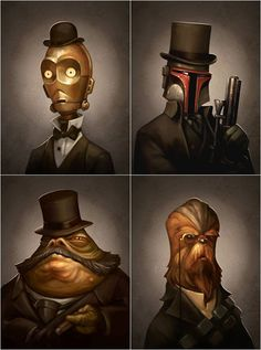 Victorian-style Star WarsStar Wars goes Victorian style. Please sir, can I have some more? These individual prints were created by Greg Peltz, illustrator and director at Pixar.