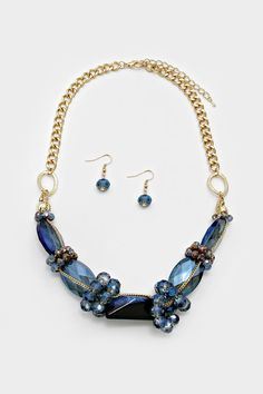 Semi Precious Lamire Necklace in Sapphire | Women's Clothes, Casual Dresses, Fashion Earrings & Accessories | Emma Stine Limited