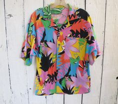 80s hawaiian button down