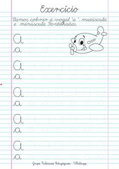 Blog Educação e Transformação: 👍Caligrafia: alfabeto e números Cursive Writing Worksheets, Tracing Worksheets, Preschool Worksheets, Preschool Learning, Kindergarten Activities, Guided Reading Organization, Tracing Letters, School Projects, Writing A Book
