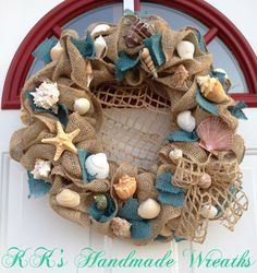 Burlap Sea Shell Wreath With Teal by KKsHandmadeWreaths on Etsy, $50.00