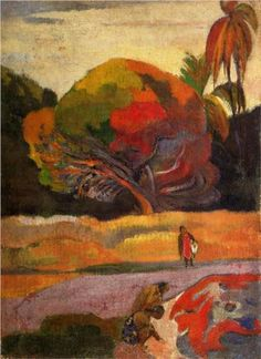 Women at the riverside - Paul Gauguin Completion Date: 1892 Place of Creation: French Polynesia Style: Post-Impressionism Period: 1st Tahiti period Genre: genre painting Technique: oil Material: canvas Gallery: Van Gogh Museum, Amsterdam, Netherlands