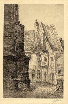 Huisje bij de grote kerk van #Naarden rond 1920. Gretha Pieck (1898-1920) Illustratrice, graficus, tekenares, vervaardigster van houtsneden en etser. Ze woonde en werkte o.a. in Amsterdam, #Bussum en Maartensdijk. G.Pieck was leerling van 'St.Lucas' te Amsterdam en kreeg les van Toon de Jong en Willem Knip. Gretha overleed aan de Spaanse griep en werd slechts eenentwintig jaar oud. #gooisemeren