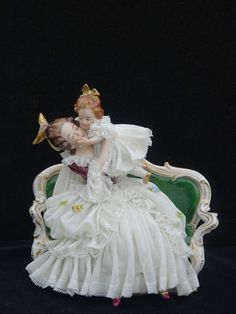Ackermann porcelain lace figurine mother and child...