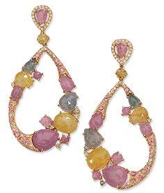 Cellini Jewelers CELLINI  Sapphire and Diamond Pendant Hoop Earrings