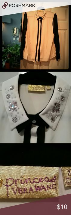 Vera Wang Jeweled Collar sheer Cream,black,pink PRINCESS VERA WANG, SHEER, LONG SLEEVE BUTTON UP BLOUSE .Size XL NWOT ❣❣🌝 Never Worn! Perfect Condition! Very Very sparkle n Shine rinestone collar. In pale pink and crystal floral pattern. Buttons are hidden in front except top rinestone. #greatdeal  #Shinelikeastar  #Classy  #Sassy  #Classylook  #Sexysweetness! !!!!! Princess Vera Wang  Tops Blouses