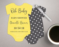 Baby Shower Invitations, Bodysuit shaped invites, die cut invitation, polka-dot invitations, Neutral invites, printed with envelopes