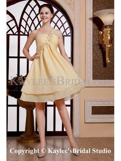 Chiffon One-Shoulder Knee-Length Column Cocktail Dress with Sequins and Ruffle
