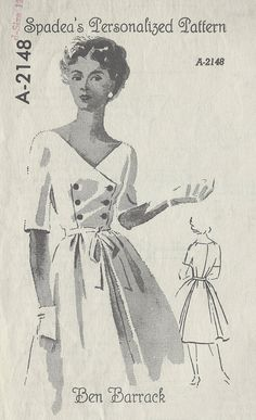 1950s Vintage Sewing Pattern B35 DRESS (R670) By Ben Barrack - SPADEA PATTERN By Ben Barrack A-2148