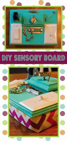Stephen and Jessika: DIY Sensory Activity Board / Busy Board - I'd call this a manipulative board. Really not sure why they chose 'sensory'. Anyhow, the idea is still great. Dementia Activities, Sensory Activities, Sensory Play, Infant Activities, Learning Activities, Activities For Kids, Crafts For Kids, Diy Sensory Board, Diy Bebe