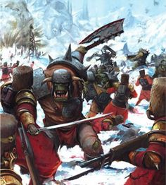 Warhammer - Orks vs Vostroyan First Born Imperial Guard Warhammer 40k Rpg, Warhammer Fantasy, Fantasy Battle, Fantasy Art, Martial, 40k Imperial Guard, Medieval, Space Marine, Sci Fi Art