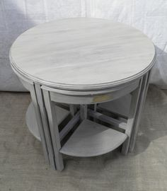 Vintage Upcycled Nest Of Five Mahogany Coffee Tables