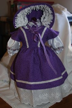 American Girl doll clothes 18 in doll clothes purple and white dress, pantaloons, bonnet, attached petticoat, attached blouse, Civil war era