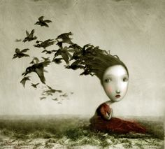 Crows by Nicoletta  Ceccoli. There's a bird that nests inside you sleeping underneath your skin, when you open up your wings to speak I wish you'd let me in.