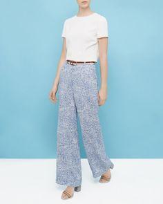Fish print wide-leg trousers - Light Blue   Trousers & Shorts   Ted Baker UK